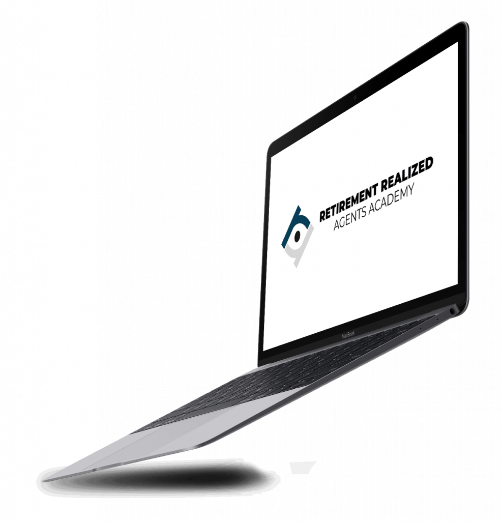 This is a picture of a macbook mockup featuring the rragentsacademy.com logo